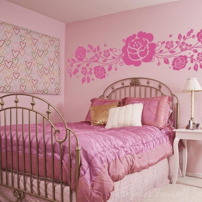 Rose flower vine wall art decal