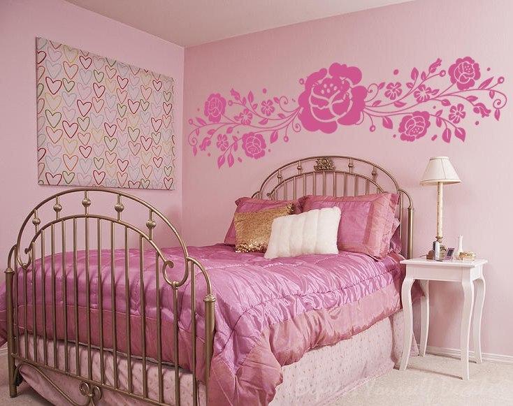 Rose flower vine wall art decal