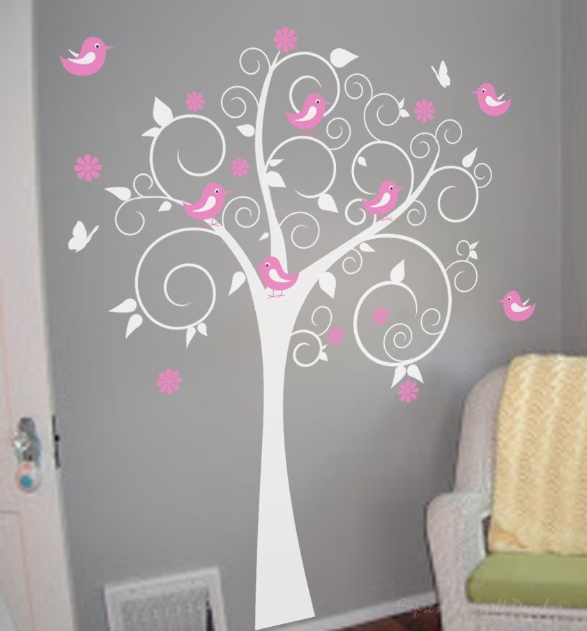 Swirl tree with birds - wall art decal