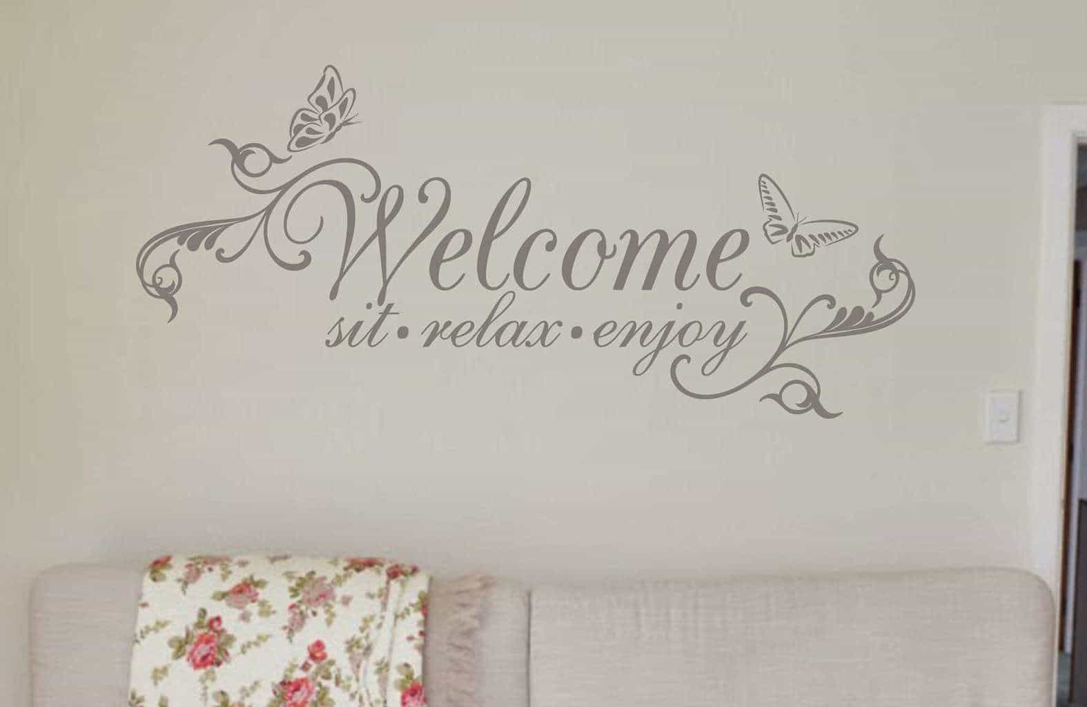 welcome sit relax enjoy butterfly wall decals wall stickers welcome wall art decal sticker