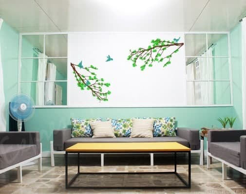 Blossom branch green wall decal