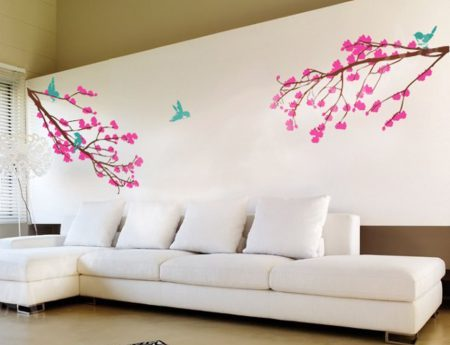 Blossom branch pink wall decal
