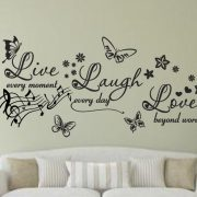 live laugh love (music note) - Wall art decal