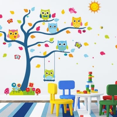 Colorful owl tree wall art decal