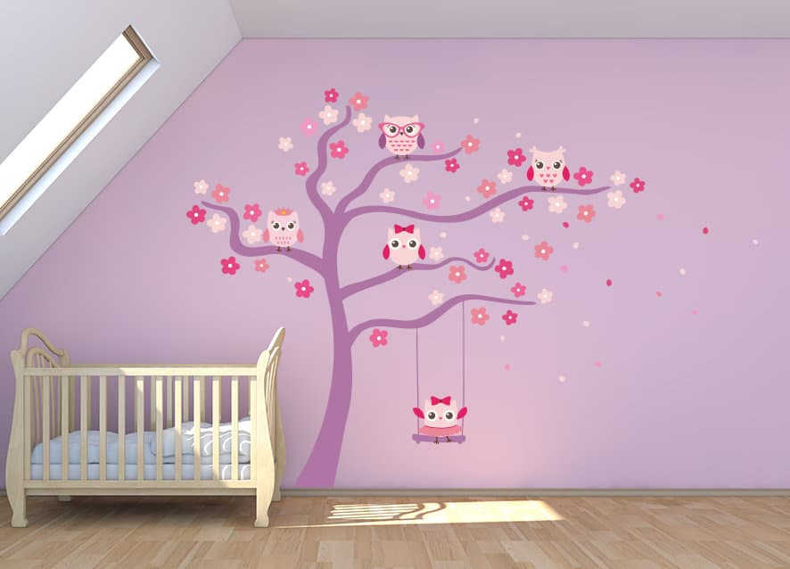 Cute Owl Tree Wall Decal