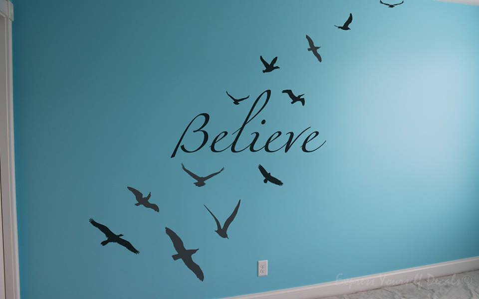 Birds Believe wall art decal
