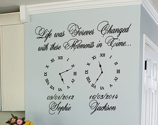 Date of birth clocks, memory clock (Life was Forever Changed) -Wall art decal sticker
