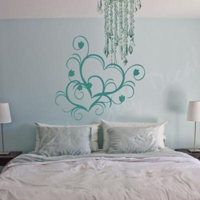 Double heart wall art decal