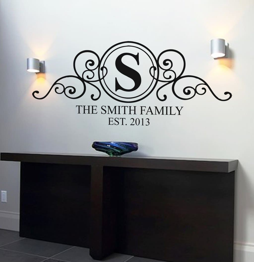 Personalised Family Name Monogram Wall Art Decal | Personalised Wall Art  Decal Sticker