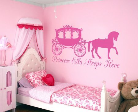 Princess horse and carriage personalised wall decal