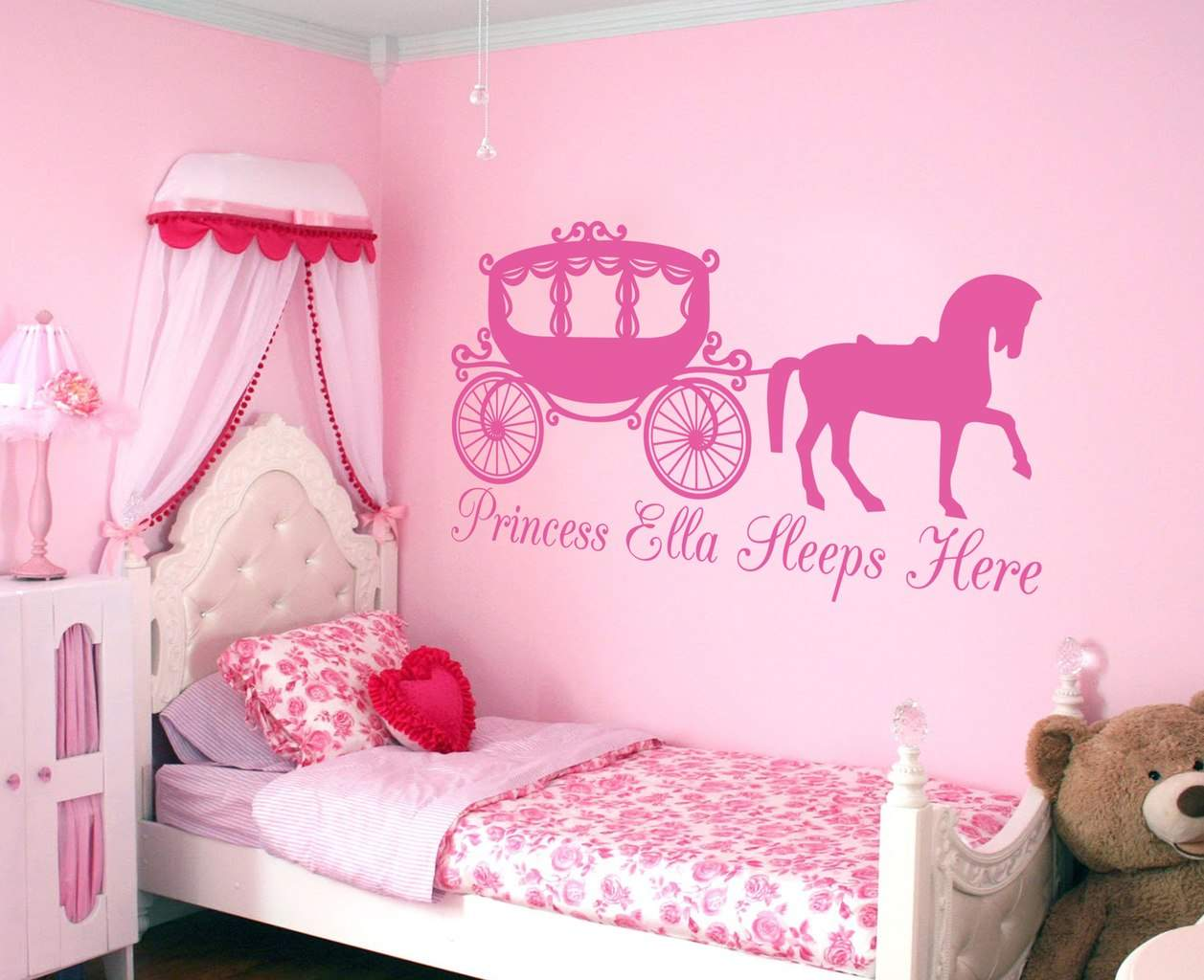 personalized princess collection wall stickers for girls princess horse and carriage personalised wall decal