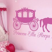 Princess horse and carriage (personalised) – Wall art decal
