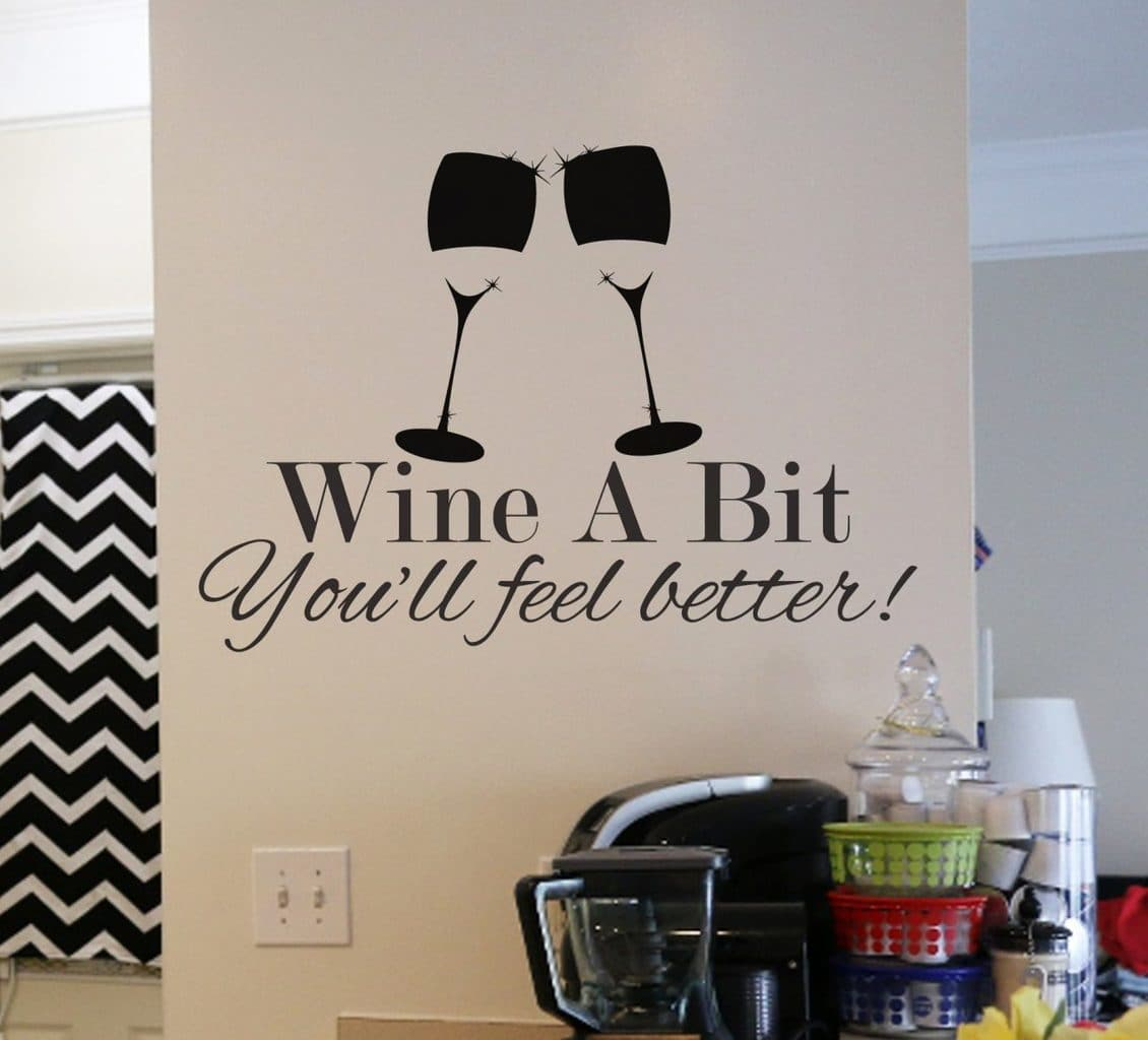 Wine a bit wall art decal