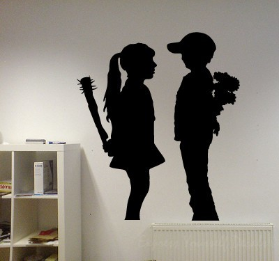 Banksy girl and boy wall decal