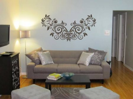 Butterfly leaf vine wall decal