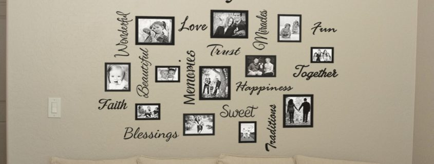 'Family is…' Photo frames & Words collage - wall art decal