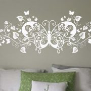Floral wall decal stickers floral butterfly - wall art decal | wall art decal sticker | wall art | wall decal | wall stickers | custom wall art decal sticker | wall art decals | wall decal