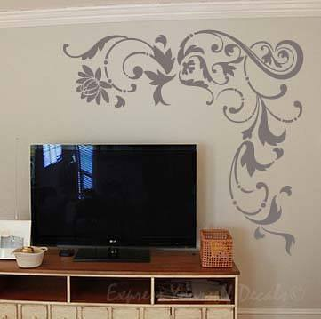 Floral corner piece wall art decal