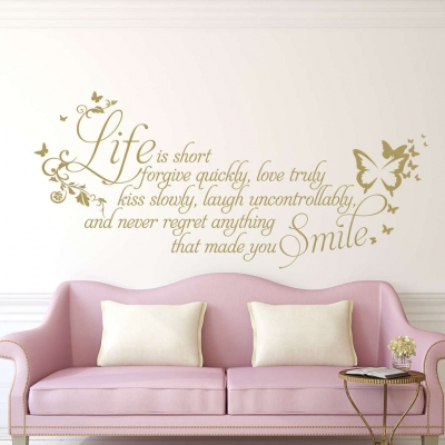 Life is short wall art decal sticker