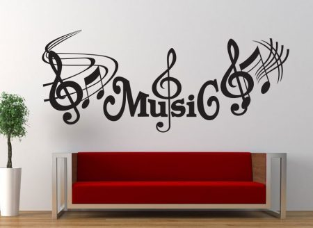 Music treble clef wall art decal