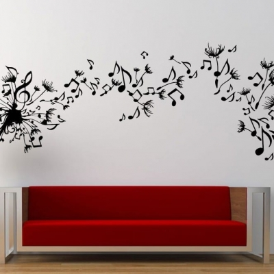 Music dandelion wall art decal