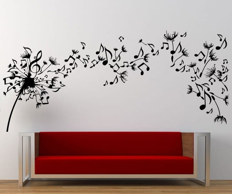 Genial Music Dandelion Wall Art Decal