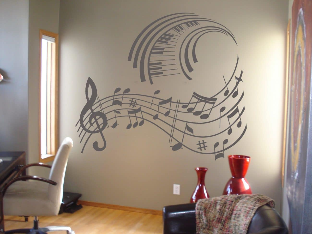Music notes wave wall art decal