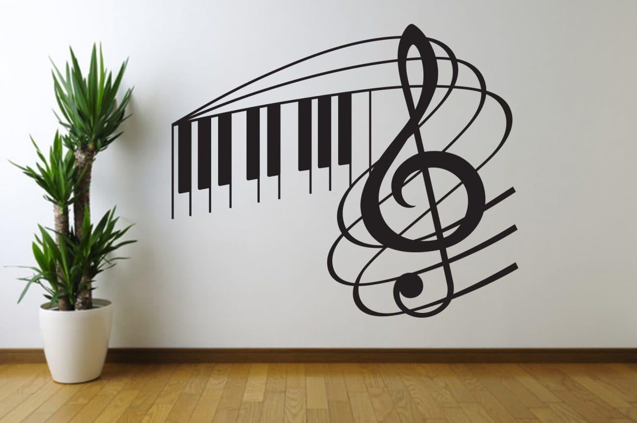 Music note swirl wall decal