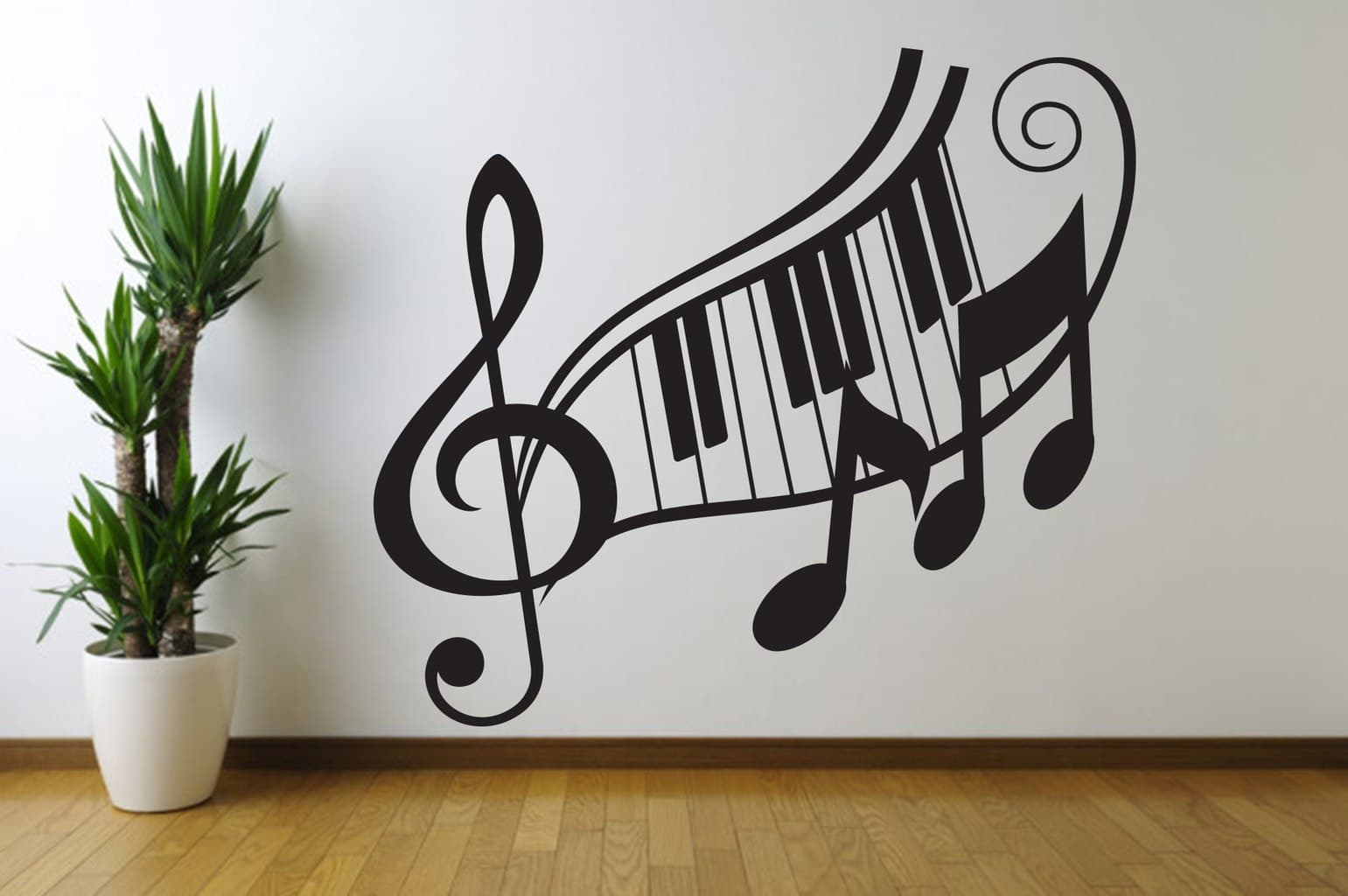 music note treble clef wall art decal. Black Bedroom Furniture Sets. Home Design Ideas