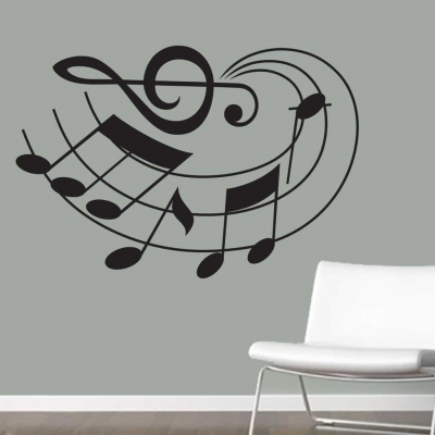 Musical notes curve wall art decal