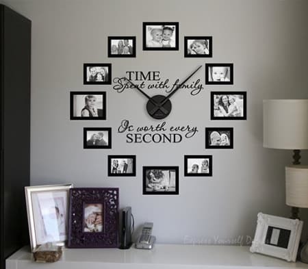 Time spent picture frame clock | Wall decal sticker clock