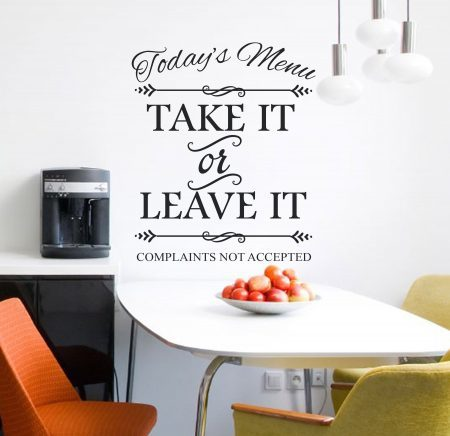 Today's Menu wall art decal