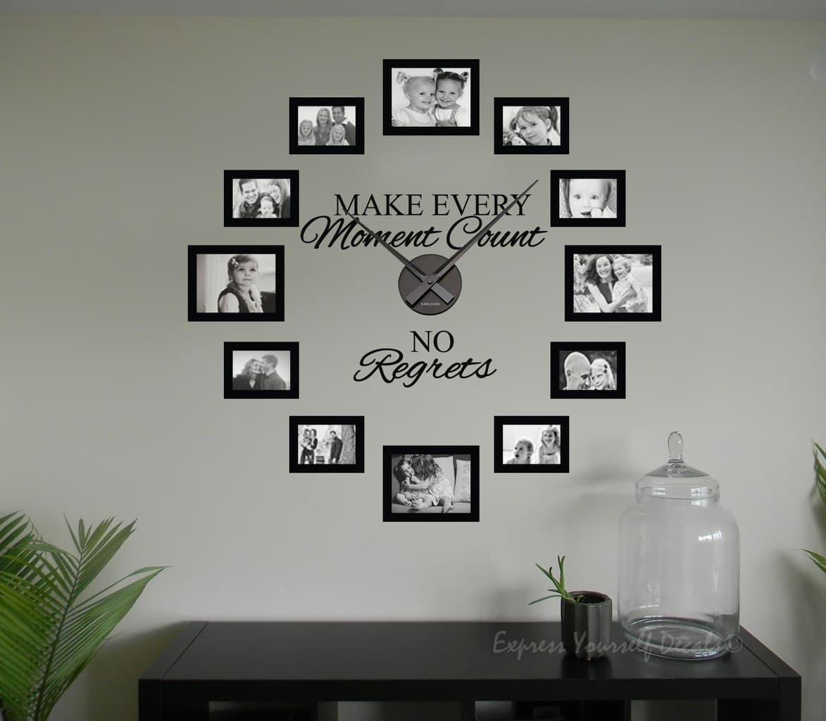 No Regrets Picture Frame Clock Wall Art Clock