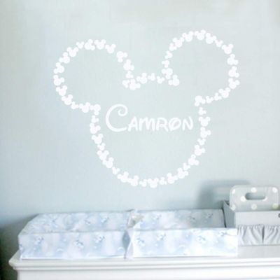 Mickey mouse ears personalised wall art decal sticker