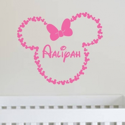 Minnie mouse ears personalised wall art decal sticker