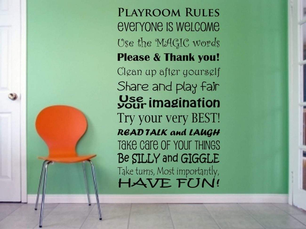 Playroom rules everyone is welcome wall decal sticker