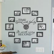 Picture Frame & Quote Clock Kit 'Time spent with family is worth every second' Quote and Picture frame clock | Picture frame and quote clock | wall art decal | working clock