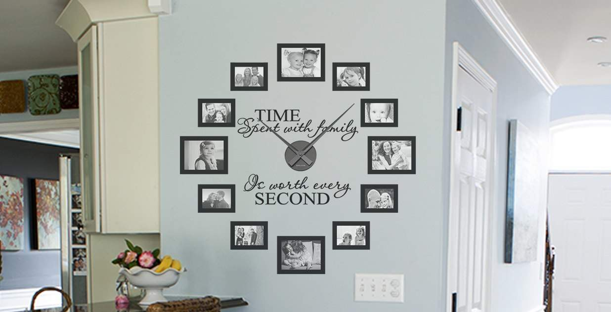 Charming Picture Frame U0026 Quote Clock Kit U0027Time Spent With Family Is Worth Every  Secondu0027