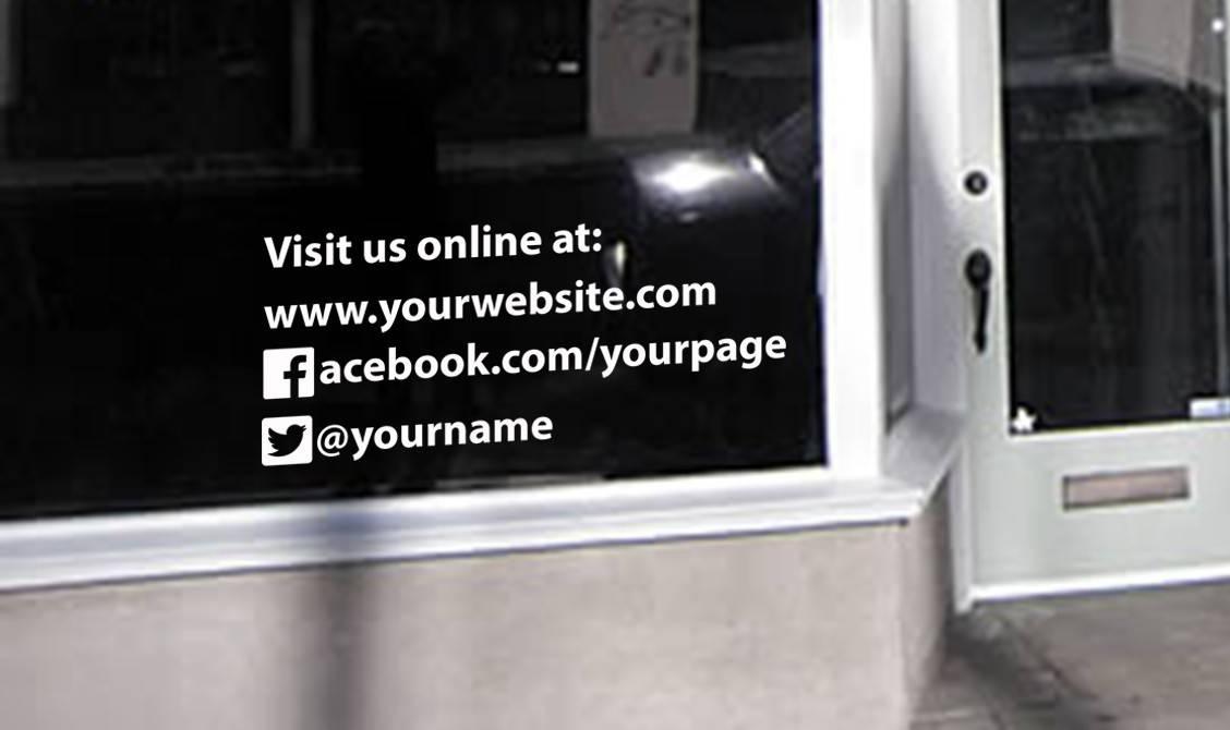 Visit us online window decal sticker