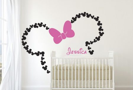 Minnie Mouse ears with bow personalised wall art decal sticker