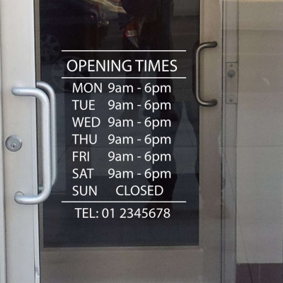 Business opening hours window decal sticker
