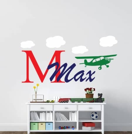 Airplane personalised wall art decal sticker