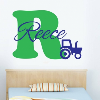 Tractor personalised wall art decal sticker