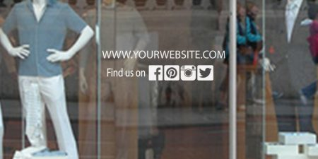Website social media window decal sticker
