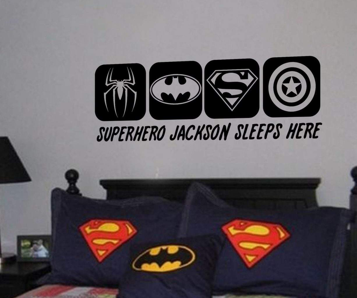 Superhero sleeps here wall art decal sticker