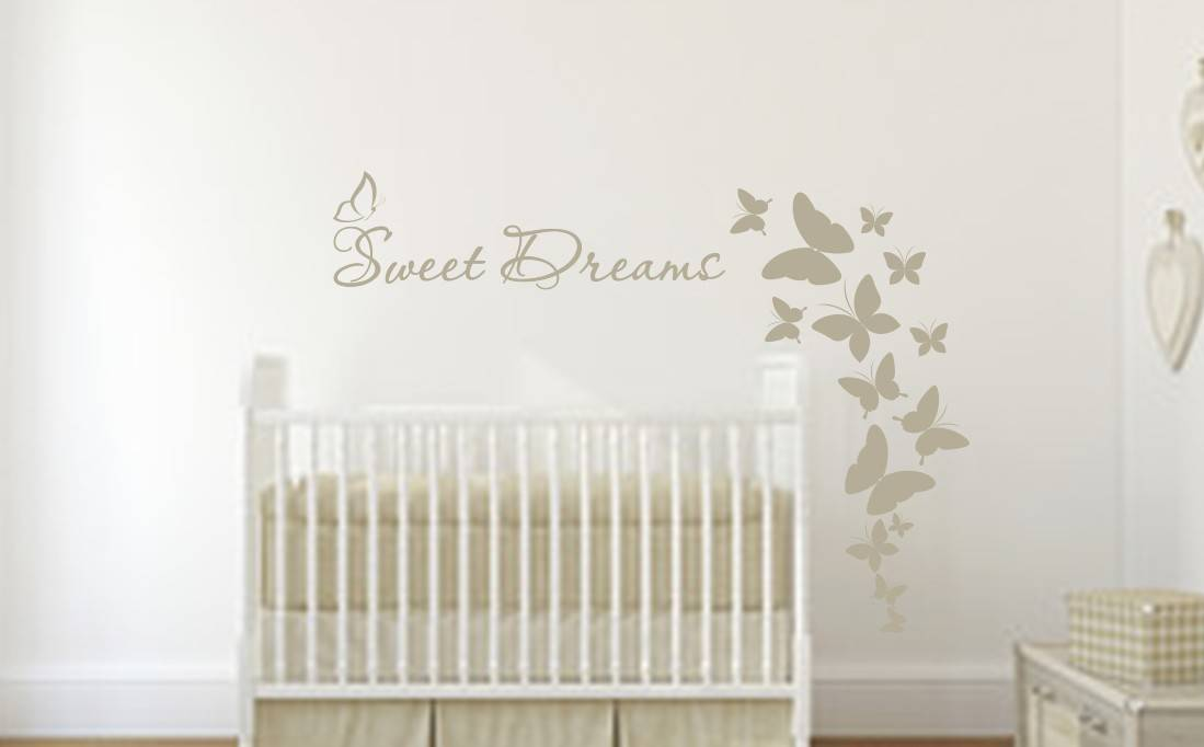 Sweet dreams butterflies wall art decal sticker