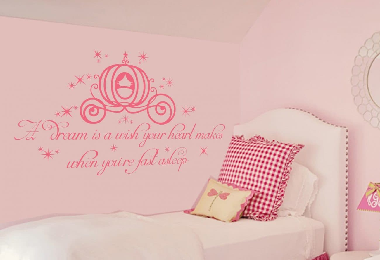 A dream is a wish your heart makes (pink) - wall art decal sticker