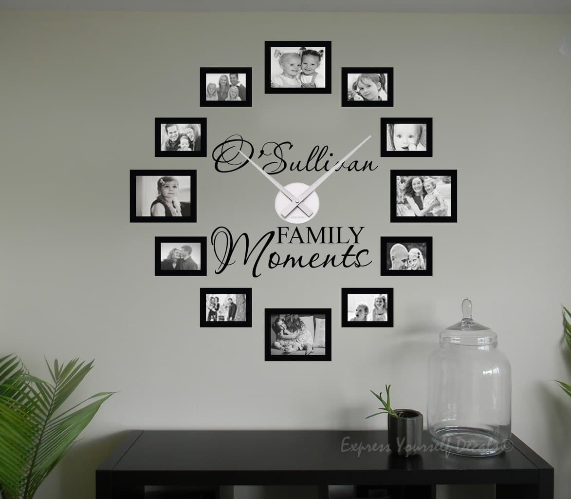 Personalised family name picture frame clock wall art decal for Picture wall decor