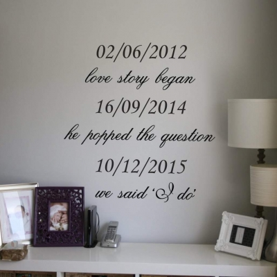 Love story dates wall decal sticker
