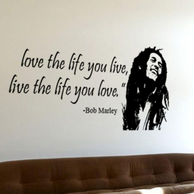 Bob Marley love the life you live wall decal